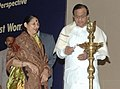 The Union Home Minister, Shri P. Chidambaram lighting the lamp to launch 'Daughters against Dowry – A Campaign for Change in Daughters Perspective', in New Delhi on November 25, 2009.jpg