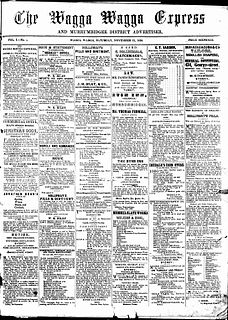 <i>Wagga Wagga Express and Murrumbidgee District Advertiser</i> an English language newspaper published in Wagga Wagga, New South Wales. in circulation from 1858-1939.