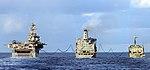 The amphibious assault ship USS Bonhomme Richard and the Royal Australian Navy amphibious ship HMAS Kanimbla refuel from the Military Sealift Command fleet replenishment oiler USNS Guadalupe.jpg