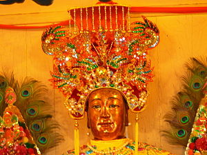 Thien Hau Temple (Ho Chi Minh City) - This image of Mazu dominates the temple's main altar.