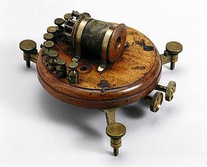 Galvanometer - Thomson mirror galvanometer, patented in 1858.