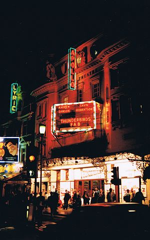 Apollo Theatre - The facade in 1989, during a production of Thunderbirds FAB