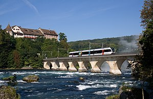 Rail transport in Switzerland - Regional train near the Rhine Falls