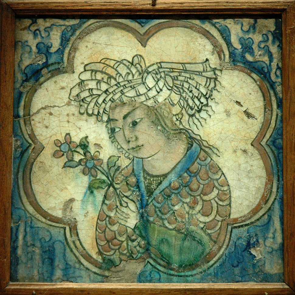 Tile young man flowers - Iran - Louvre museum - AD 27812