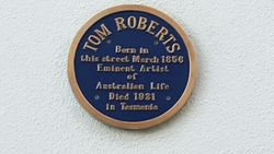 Photo of Tom Roberts blue plaque