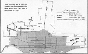 Toronto Suburban Railway - 1921 map of electrified rail lines serving Toronto at that time