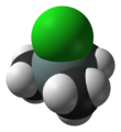 Space-filling model of the trimethylsilyl chloride molecule