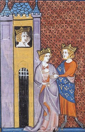 Bertha of Holland - King Philip marries Countess Bertrada, with Count Fulk protesting and Queen Bertha imprisoned in a castle