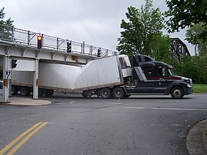 Fredericton Railway Bridge - Truck fails to clear the bridge underpass on Waterloo Row, 2006.