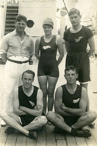 New Zealand at the 1920 Summer Olympics - Back row from left: Tui and Violet Walrond, George Davidson; front: Harry Wilson and Darcy Hadfield