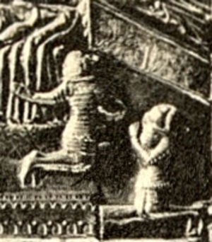 Tvrtko I of Bosnia - Tvrtko and his brother Vuk on Saint Simeon's chest (detail of the scene depicting Stephen II's death)