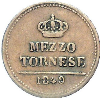 Tornesel - Image: Two Sicilies 1849 coin half tornese (reverse)