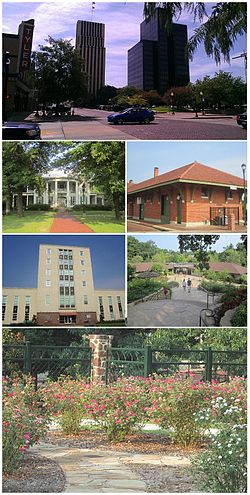 Clockwise: Tyler skyline with Plaza Tower at right and People's Petroleum building in center, Cotton Belt Depot, Caldwell Zoo, Chamblee Rose Garden, Smith County Courthouse, Goodman Home.
