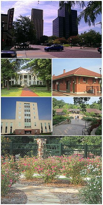 Tyler, Texas - Clockwise: Tyler skyline with Plaza Tower at right and People's National Bank office building in center, Cotton Belt Depot, Caldwell Zoo, Chamblee Rose Garden, Smith County Courthouse, Goodman Home.