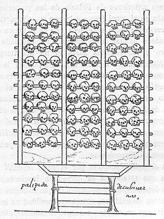 Tzompantli - A tzompantli, illustrated in the 16th-century Aztec manuscript, the Durán Codex