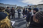 U.S. Navy Cmdr. Jonathan Schmitz, center, the commanding officer of the guided missile destroyer USS Fitzgerald (DDG 62), explains flight deck operations to members of the Council on Foreign Relations during 140310-N-ZS026-057.jpg