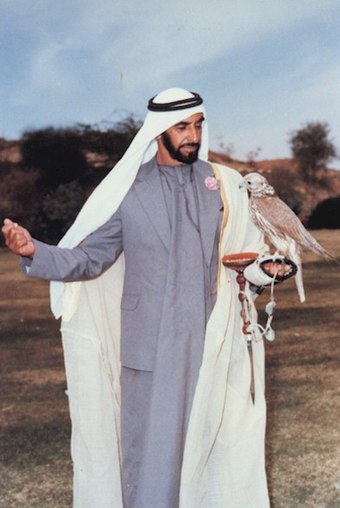 Zayed bin Sultan Al Nahyan was the first President of the United Arab Emirates and is recognised as the father of the nation. UAE Father of the Nation.jpg