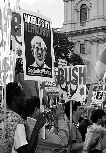Anti-war demonstration during President Bush's visit to London, June 2008 UK Anti Bush visit protest.jpg