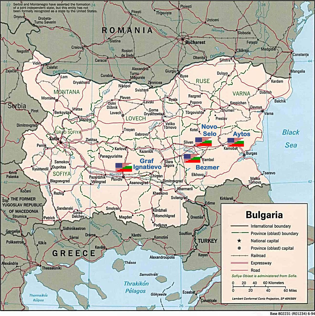 BulgarianAmerican Joint Military Facilities Wikipedia - Map of us military bases in usa