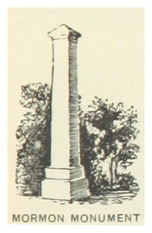 Mount Pisgah, Iowa - 1891 illustration of a monument at what is now the Mount Pisgah Cemetery State Preserve