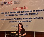 USAID Office of Health Director Laurel Fain addresses the USAID Avian and Pandemic Influenza Initiative Dissemination Workshop. (9449723390).jpg
