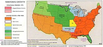 Presidency of James Monroe - The United States in 1819. The Missouri Compromise prohibited slavery in the unorganized territory of the Great Plains (upper dark green) and permitted it in Missouri (yellow) and the Arkansas Territory (lower blue area).