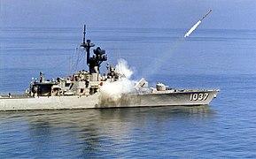 USS Bronstein (FF-1037) firing a RUR-5 ASROC, circa in the 1980s (S-550-G).jpg