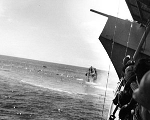 During an attempt to salvage Yorktown both it and the destroyer Hammann were struck by torpedoes from I-168.