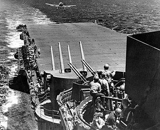 Battle of the Philippine Sea - F6F-3 landing aboard Lexington — Task Force 58 flagship