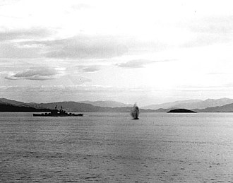 Blockade of Wonsan - USS Manchester under fire off Wonsan.