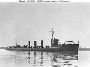 USS Monaghan (DD-32) - USS Monaghan (DD-32) at anchor, circa 1912.