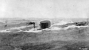 Semi-submersible naval vessel - The first US Navy ironclad ship, the USS Monitor, exhibited a low surface profile.