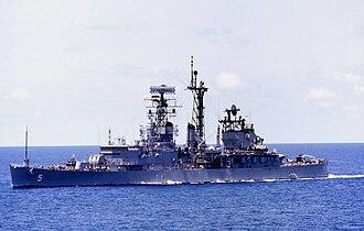 USS Oklahoma City (CL-91) - Image: USS Oklahoma City (CLG 5) underway 1974