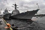 USS Oscar Austin is moored alongside the Norwegian Navy ship in Bergen, Norway. (36060809604).jpg
