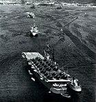USS Saipan (CVL-48) at Sasebo, circa in 1954.jpg