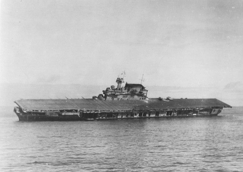 File:USS Yorktown (CV-5) listing and abandoned on 4 June 1942.jpg