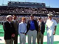 US Navy 031018-N-3399W-001 Rice University President Dr. Malcolm Gillis joins Naval Academy Assistant Athletic Director Eric Ruden, Pierce Bush, former President George H.W. Bush, Secretary of the Navy Gordon R. England, and Na.jpg