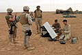 US Navy 041108-M-5882G-071 U.S. Marines assigned to Alpha Company, 1st Battalion, 7th Marines, prepare to launch a Dradoneye Small Unit Remote Scouting System, outside the village of Al Qaim, Iraq.jpg