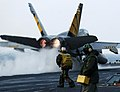 US Navy 060330-N-4166B-097 An F-A-18F Super Hornet assigned to the Fighting Vigilantes of Strike Fighter Squadron One Five One (VFA-151) launches from the flight deck of the Nimitz-class aircraft carrier.jpg