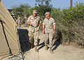 US Navy 060822-N-2893B-001 Commander, Joint Task Force (JTF) Lebanon, Vice Adm. J. Boomer Stufflebeem, discusses transfer of authority issues with Commander, Task Force 59 Marine Corps Brig. Gen. Carl Jensen in Cyprus.jpg