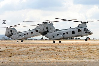 Miramar Air Show - U.S. Marine Corps CH-46 Sea Knight helicopters land during the MAGTF demo at the MCAS Miramar Air Show