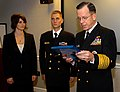 US Navy 061212-N-7948R-001 Chief of Naval Operations (CNO) Adm. Mike Mullen meritoriously promotes Chief Cryptologic Technician Brian Davison, Enlisted Recruiter of the Year (Active Component) of Commander, Navy Recruiting Comm.jpg