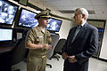 US Navy 090716-N-5549O-017 Secretary of the Navy (SECNAV) the Honorable Ray Mabus tours the control center of the battle stations training simulator USS Trayer (BST 21) while visiting Recruit Training Command Great Lakes.jpg