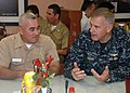 US Navy 100617-N-9806M-019 Officers speak during a PANAMAX 2010 planning exercise at U.S. 2nd Fleet maritime headquarters.jpg