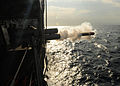 US Navy 100825-N-9301W-374 A MK-46 recoverable exercise torpedo is launched from the guided-missile frigate USS Klakring (FFG 42) during a weapons drill.jpg