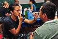 US Navy 110624-F-NJ219-106 Lt. Patricia Salazar, an optometrist from San Francisco, checks a patient's vision at the Humberto Mendez Rivas medical.jpg
