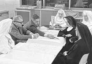 University of Mary - Benedictine Sisters of Mary College meeting with the internationally renowned architect, Marcel Breuer, in the early design process of their campus and monastery