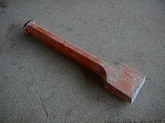 Pitching tool used in preliminary rough shaping blocks of stone