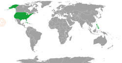 Map indicating locations of United States and Kingdom of Hawaii