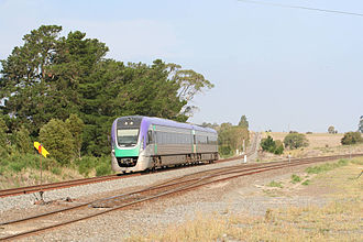 Serviceton railway line - V/Line VLocity train at the junction with the Melbourne-Ballarat line at Warrenheip station